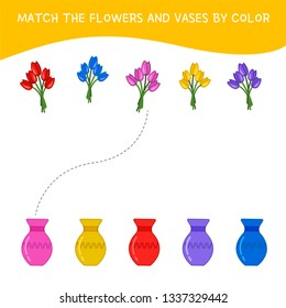 Matching children educational game. Match of flowers and vases by color. Activity for pre sсhool years kids and toddlers.