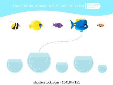 Matching children educational game. Match  of cartoon fish to size . Activity for pre school years kids and toddlers.