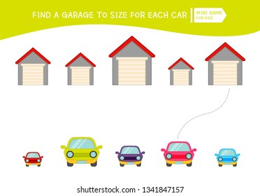 Matching children educational game. Match  of cartoon garages and cars  to size . Activity for pre school years kids and toddlers.