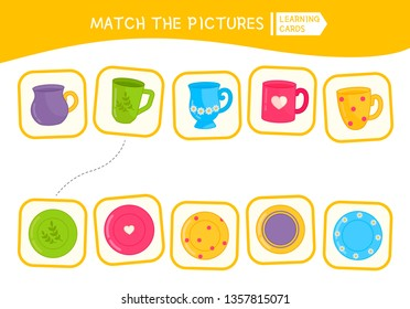 Matching children educational game. Match of cups and plates. Activity for pre sсhool years kids and toddlers.