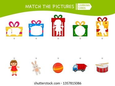 Matching children educational game. Match of gifts. Activity for pre sсhool years kids and toddlers.