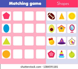 Matching children educational game. Match objects with geometric shapes. Learning forms activity for kids and toddlers.