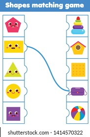 Matching children educational game. Match real objects with shapes. Learning forms activity for kids and toddlers.