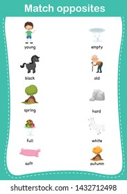 Matching children educational game. Match of opposites.vector illustration