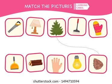 Matching children educational game. Match of logic pairs. Activity for pre sсhool years kids and toddlers.