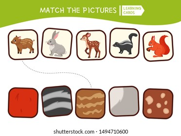 Matching children educational game. Match of animals and their skin. Activity for pre sсhool years kids and toddlers.