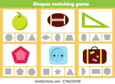 Matching children educational game. Match real objects with geometric shapes. Learning forms activity for kids and toddlers.