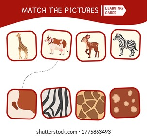 Matching children educational game. Match animals and patterns . Activity for pre sсhool years kids and toddlers.