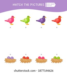 Matching children educational game. Match the bird and the nest of the same color.  Activity for pre sсhool years kids and toddlers.