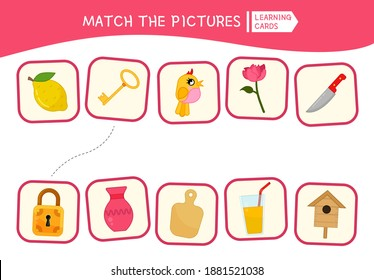 Matching children educational game. Match the pictures. Activity for pre sсhool years kids and toddlers.