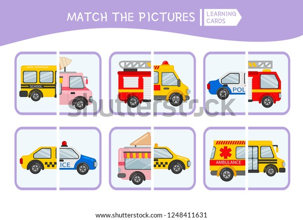 Matching Children Educational Game Match Parts Stock Vector Royalty