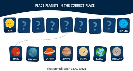 Matching children educational game. Place planets in the correct place.. Activity for pre sсhool years kids and toddlers.