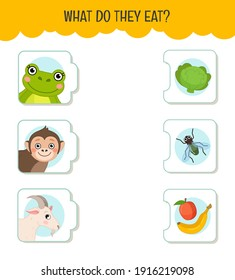 Matching children educational game. What do they eat?. Activity for pre sсhool years kids and toddlers. Animals and food.