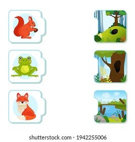 Matching children educational game. What do animals live?. Activity for pre sсhool years kids and toddlers. Animals and their homes.