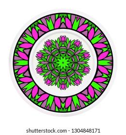 matching decorative plates. Decorative mandala ornament. Vector illustration