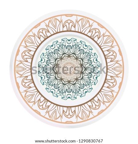 Matching Decorative Plates Decorative Mandala Ornament Stock ...