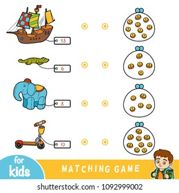 Matching education game for children. Count the coins and choose a toy by the price. Set of toys (ship, elephant, kick scooter and lizard)