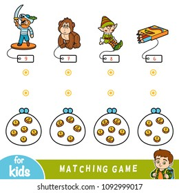 Matching education game for children. Count the coins and choose a toy by the price. Set of toys (pirate, gorilla, elf and color pencils)