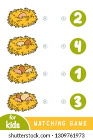 Matching education game for children. Count how many eggs are in the nest and choose the correct number.