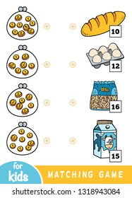Matching education game for children. Count how many money is in each wallet and choose the correct price. A set of different foods on the market - eggs, pasta, milk, bread