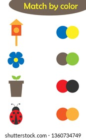 Matching game for children, connect colorful spring images with same color palette, preschool worksheet activity for kids, task for the development of logical thinking, vector illustration