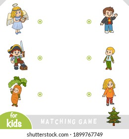 Matching game for children. Find what costumes the kids are wearing. Festive masquerade
