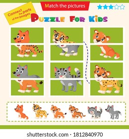 Matching game for children. Puzzle for kids. Match the right parts of the images. Baby animals. Little cat, wolf, lion, tiger, cheetah, fox.