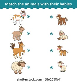 Matching game for children, vector education game (farm animals and babies)
