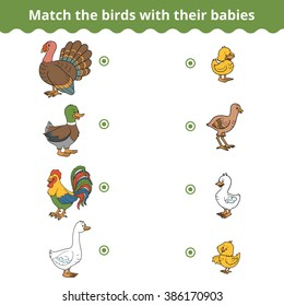 Matching game for children, vector education game (farm birds and babies)