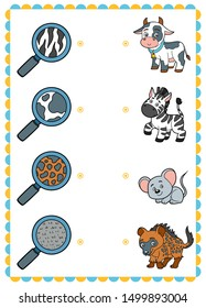 Matching game, education game for children. Find the right parts, set of cartoon animals. Zebra, Cow, Mouse, Hyena