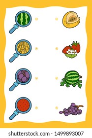 Matching game, education game for children. Find the right parts, set of fruits and berries. Watermelon, Strawberry, Honeydew melon, Grapes