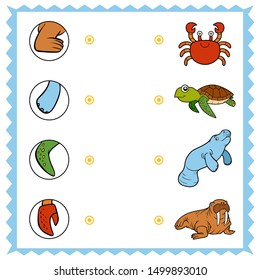 Matching game, education game for children. Find the right parts, set of cartoon animals. Walrus, Crab, Manatee, Turtle