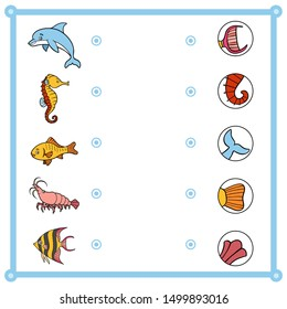 Matching game, education game for children. Find the right parts, set of cartoon animals. Dolphin, Angelfish, Shrimp, Goldfish, Sea horse