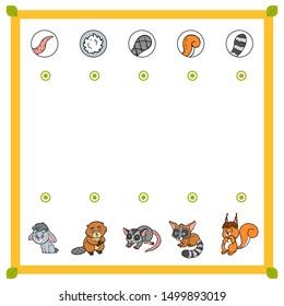 Matching game, education game for children. Find the right parts, set of cartoon animals. Possum, Beaver, Rabbit, Squirrel, Bassariscus