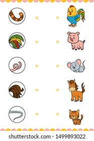 Matching game, education game for children. Find the right parts, set of cartoon animals. Mouse, Cat, Horse, Rooster, Pig