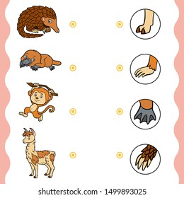 Matching game, education game for children. Find the right parts, set of cartoon animals. Platypus, Pangolin, Monkey, llama