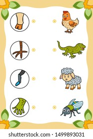 Matching game, education game for children. Find the right parts, set of cartoon animals. Gecko, Fly, Sheep, Chicken