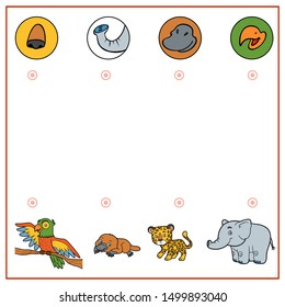 Matching game, education game for children. Find the right parts, set of cartoon animals. Elephant, Platypus, Jaguar, Parrot