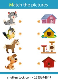 Matching game, education game for children. Puzzle for kids. Match the right object. Cartoon animals with their homes. Cat, bird, horse, dog.