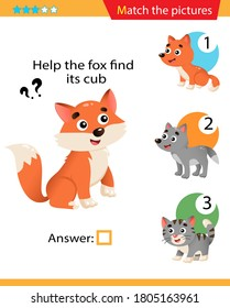 Matching game, education game for children. Puzzle for kids. Match the right object. Help the fox find its cub.