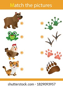 Matching game, education game for children. Puzzle for kids. Match the right object. Animal tracks. Whose trail? Bear, frog, chicken, cat.