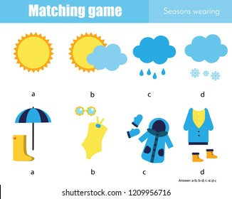 Matching game. Educational children activity. Learning weather and seasonal wearing