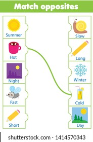 Matching game. Educational children activity. match opposites. Learning activity for pre scholl years kids and toddlers