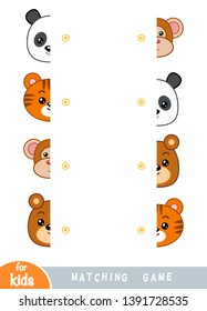 Matching game, educational game for children. Match the halves. Set of animals - Bear, Monkey, Tiger, Panda