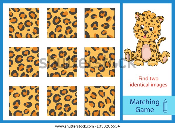 Matching Game Find Two Identical Images Stock Vector (Royalty Free