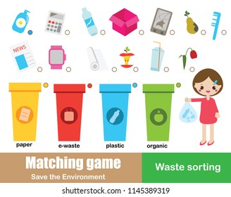 Matching game for kids. Eductaional children activity. Ecology theme. Learning waste sorting for toddlers