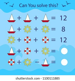 Matching game for kids with sea symbolic. Mathematical exercise and count task. Can You solve this? Children funny riddle entertainment. Sheet right answer. Vector activity page and game.