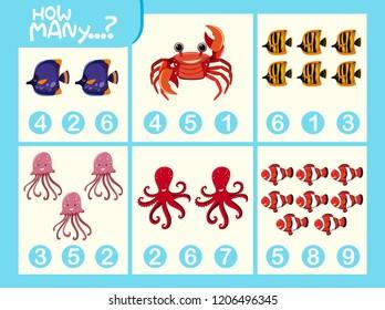 Matching picture number worksheet illustration