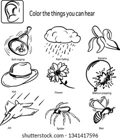 Matching pictures and hearing sense from topic five senses. Pictures for coloring.