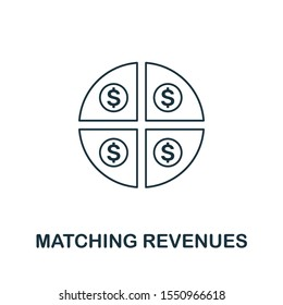 Matching Revenues icon outline style. Thin line creative Matching Revenues icon for logo, graphic design and more.
